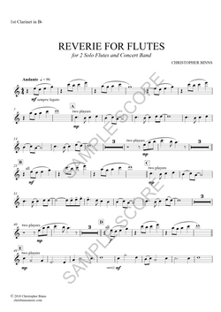 Reverie For Flutes -  1st Clarinet in Bb