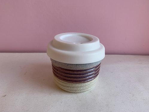 Purple iceburg ribbed travel cup