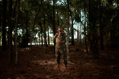 Marine in the woods