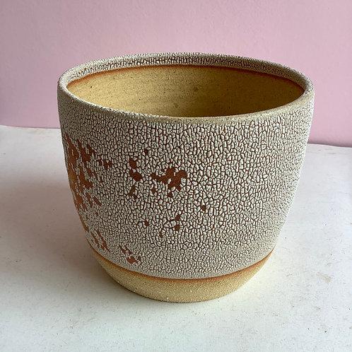 Medium Planter: Crackle glaze with some spots