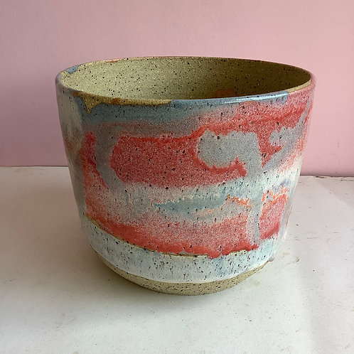 Extra Large Recycled Clay Colour Swirl Planter