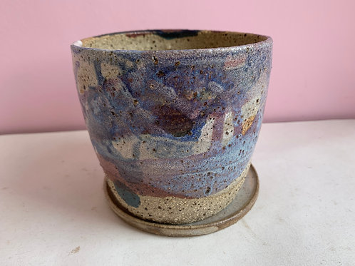 M Recycled Clay Galaxy Planter With Drip Plate