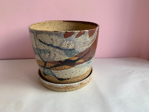 L Recycled Clay Splash Planter With Drip Plate