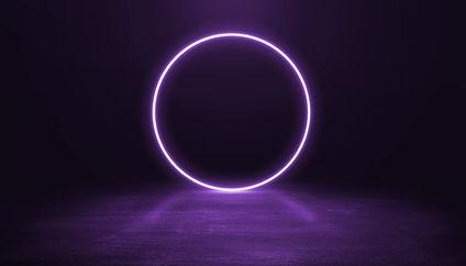 Ring shaped Neon light on dark backgroun