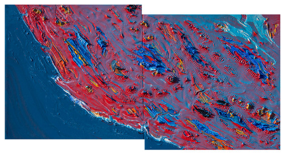 Coast of California Geologic Abstraction #1 with spray paint