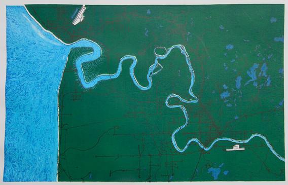 Path of the Kenai River in Green