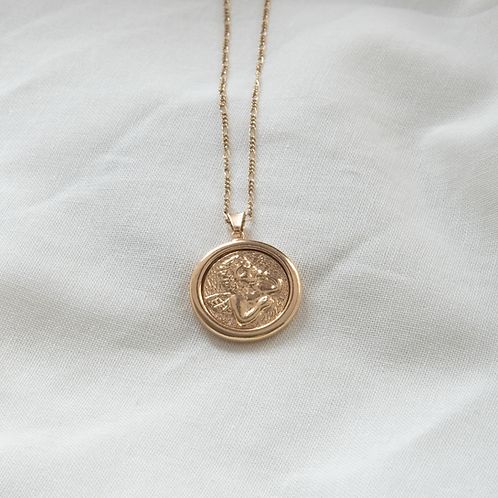 Gold filled jewellery angel coin pendant Singapore