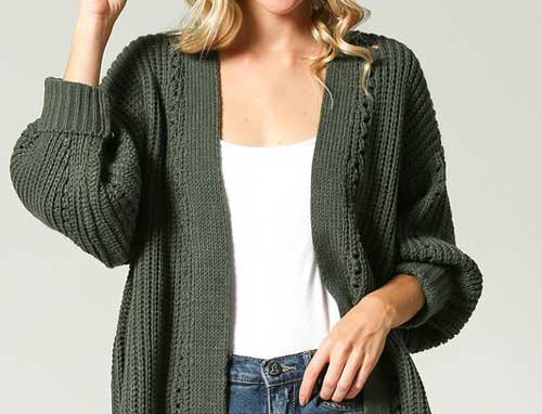 Soft, chunky, knit cardigan sweater