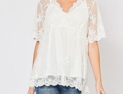 Lace overlay babydoll top featuring scalloped trim detail