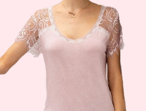Wide neck eyelash lace trim sleeve top