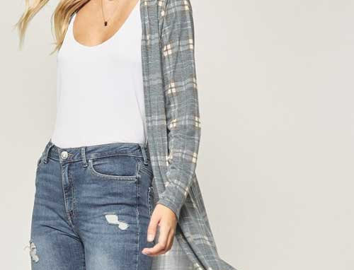 Plaid printed long sleeve open front cardigan