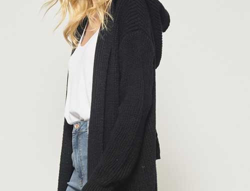 Open front knit sweater with eyelet detailing