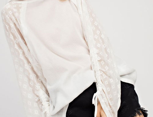 Gauze & Lace Fabric Mixed Ruched Sleeve Hoodie