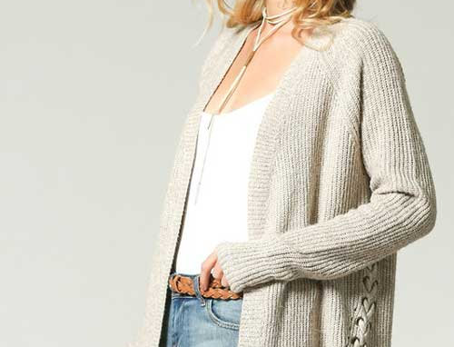 Knit cardigan with laced up eyelet