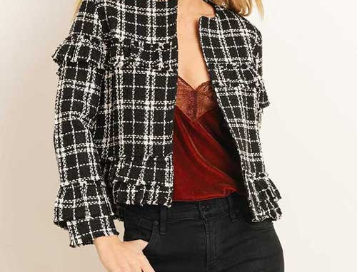 Plaid Tweed Jacket with Ruffle Detail