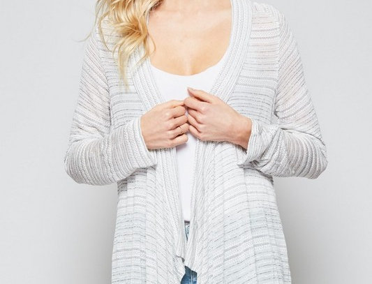 Stripe Knit Cardigan with Long Sleeves