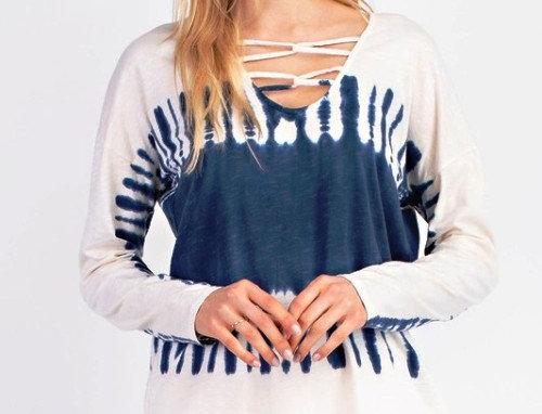 Cotton Tie Dye Crisscross Top