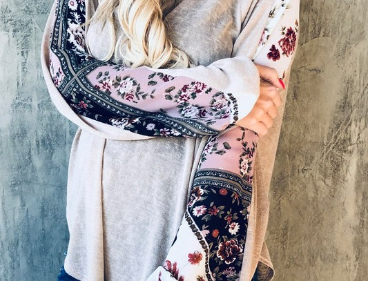 V Neck Floral Sleeve Casual Top