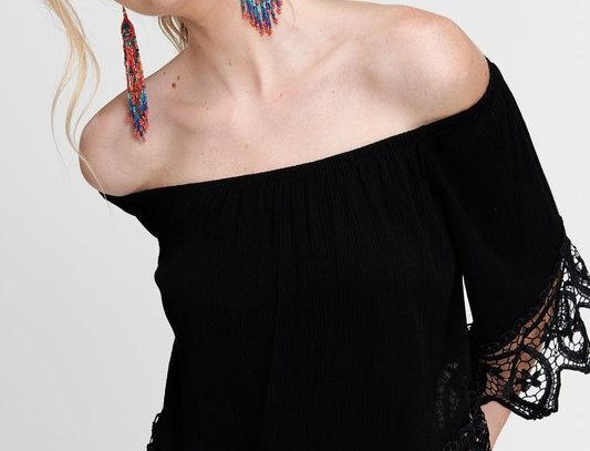 Delicate Lace Trim Off the Shoulder Top
