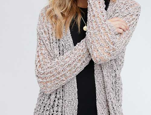 Open Front Weave Knit Cardigan