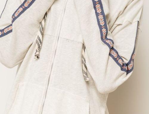 Embroidered Sleeve Zip-Up Hoodie