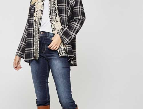 Open front embroidered plaid cardigan