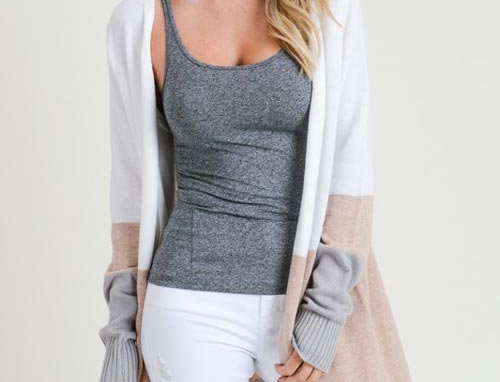 3 Color Coloration Long Sleeve Open Cardigan