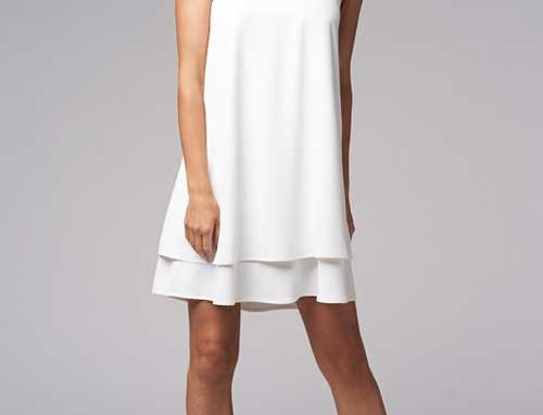 2 Layer Solid Dress - White