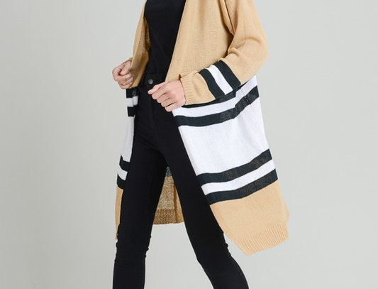 Stripe Long Open Cardigan