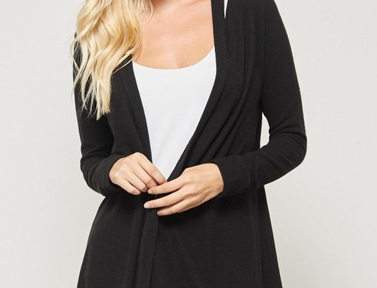 Brushed Open Front Cardigan Neckline Detail