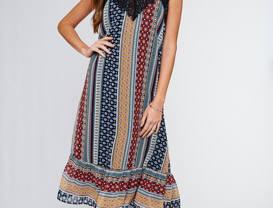 Eyelash Lace Trim Dress