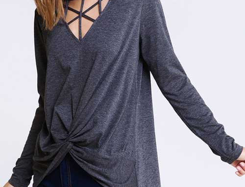 Caged detail top with gathered detail front