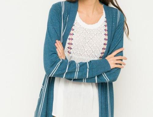 Pocketed Stripe Varsity Cardigan