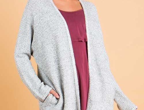 Marled Knit Cardigan Sweater