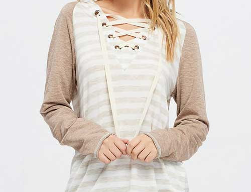 Long Sleeve Raglan Striped Knit Sweater