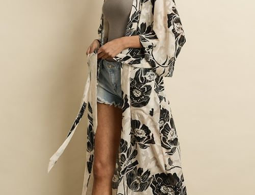 Floral Burn Out Kimono with Front Patch Pockets and Waist Sash Belt