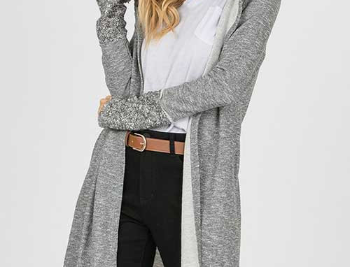 Hooded Open Front Long Body Cardigan