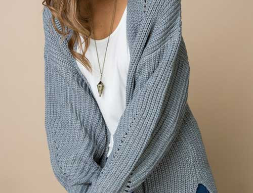 Long bubble sleeve open front cardigan