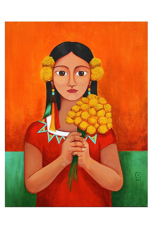 Girl with Marigolds Art Card