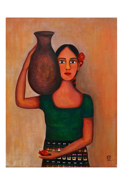 Girl with Vase Art Print