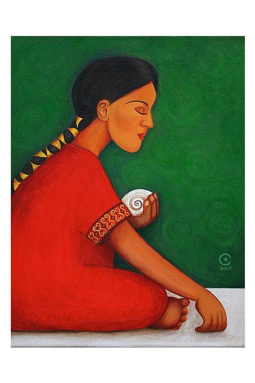 Girl with Shell Art Print