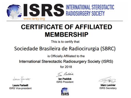 SBRC Formaliza Parceria com o International Stereotactic Radiosurgery Society (ISRS)