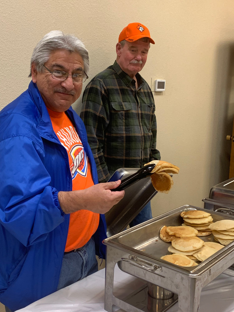 A bunch of the United Methodist Men made the pancakes!