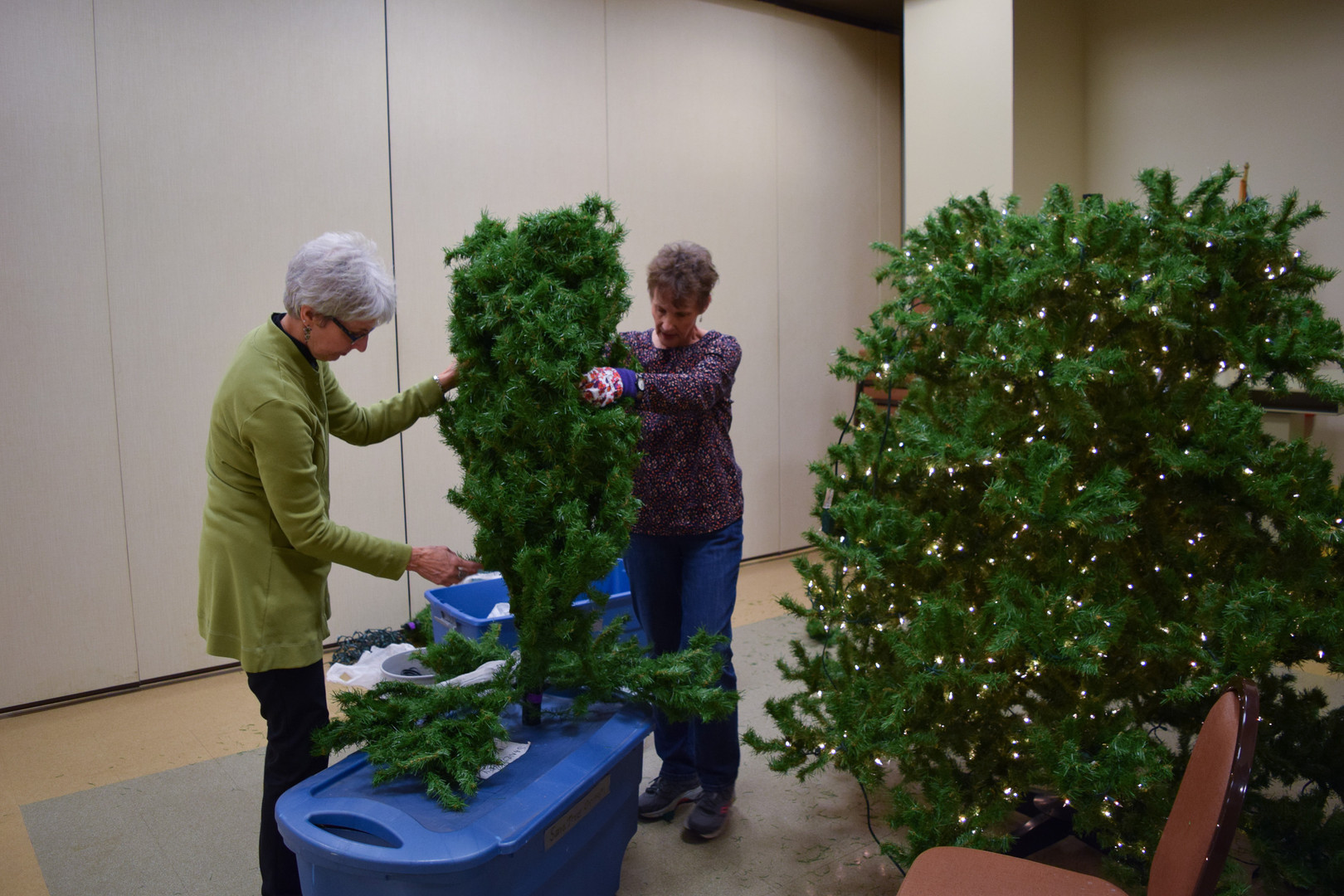 These ladies got the sanctuary tree started early