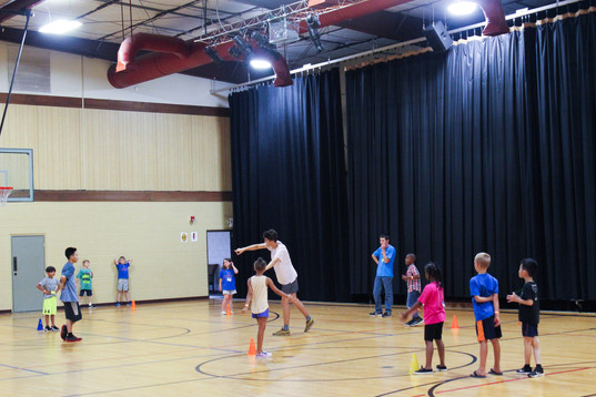And in the gym the kids played games!