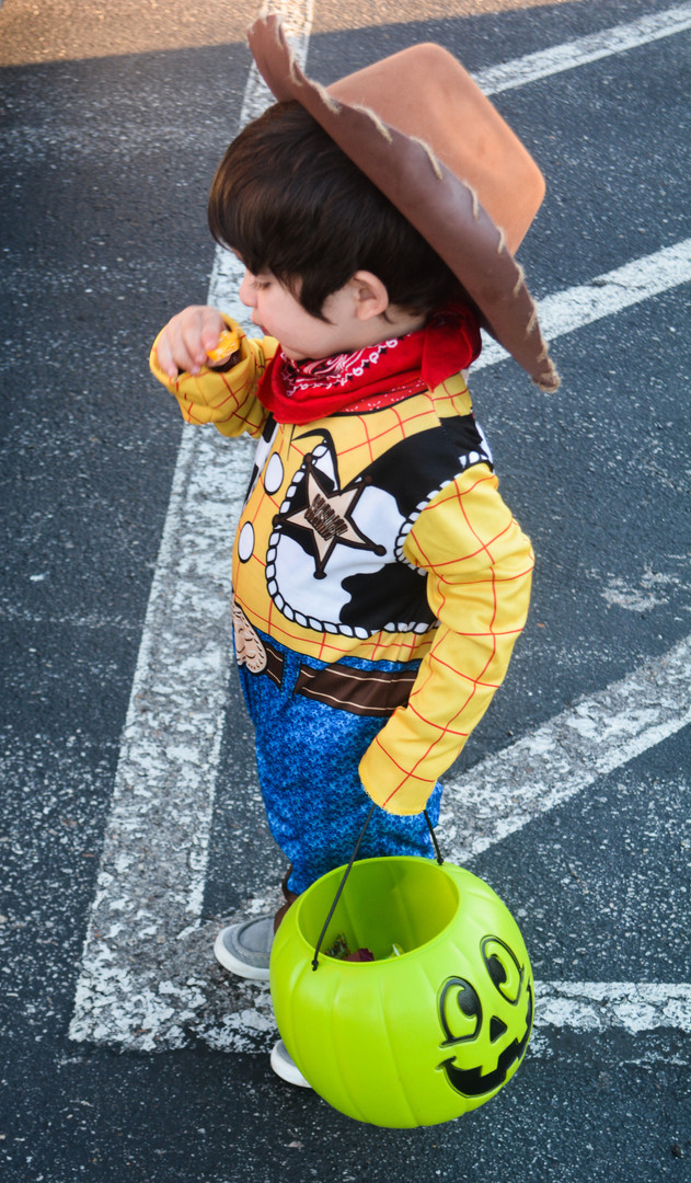 One little cowboy took a break from the hubbub