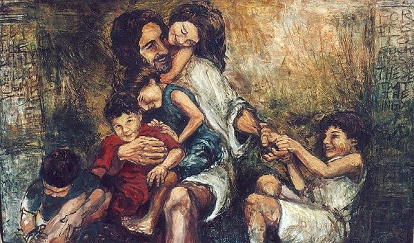 jesus with children. christopher santer.