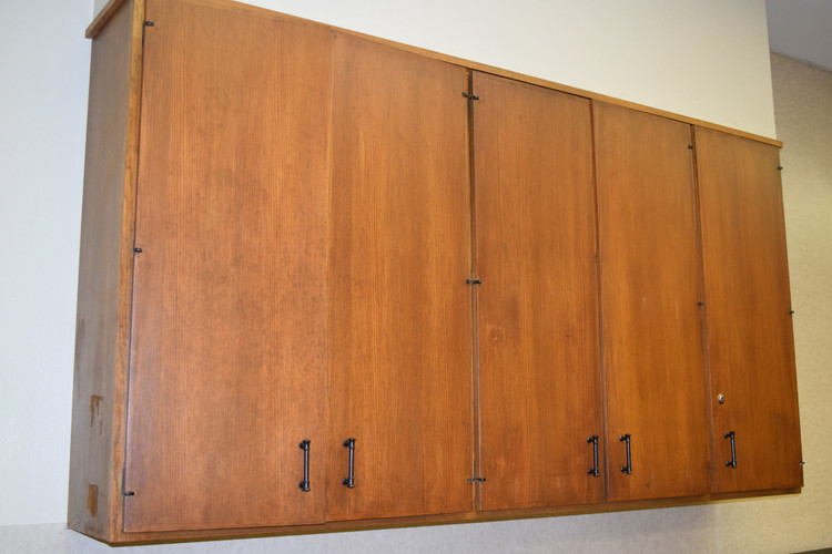 The cabinets were all restained!