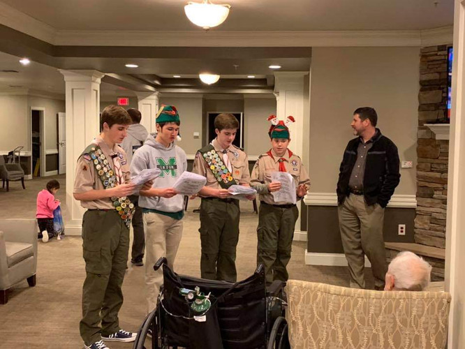 They were caroling at the Baptist Village Rehab Center.