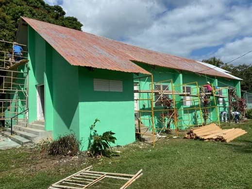The team is working on this school in Sittee River.